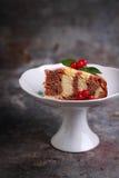 Με ραβδώσεις κέικ με τα μούρα σε ένα άσπρο βάζο Στοκ φωτογραφία με δικαίωμα ελεύθερης χρήσης