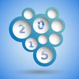 2015 με το αφηρημένο μπλε υπόβαθρο λεκτικών φυσαλίδων Στοκ Εικόνες