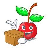 Με το κεράσι φρούτων πεδίων επάνω από τον ξύλινο πίνακα χαρακτήρα διανυσματική απεικόνιση