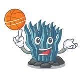 Με το μπλε φύκι καλαθοσφαίρισης στη μασκότ μορφής διανυσματική απεικόνιση