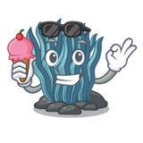 Με το μπλε φύκι παγωτού που απομονώνεται στο χαρακτήρα απεικόνιση αποθεμάτων