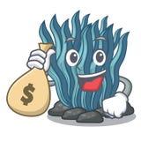 Με το μπλε φύκι τσαντών χρημάτων στη μασκότ μορφής διανυσματική απεικόνιση