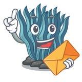 Με το μπλε φύκι φακέλων που απομονώνεται στο χαρακτήρα απεικόνιση αποθεμάτων