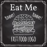 Με φάτε Στοιχεία στο θέμα της επιχείρησης εστιατορίων κιμωλία ελεύθερη απεικόνιση δικαιώματος
