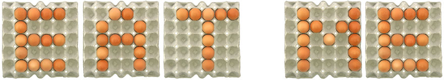 ΜΕ ΦΑΤΕ λέξη από τα αυγά στο δίσκο εγγράφου Στοκ φωτογραφία με δικαίωμα ελεύθερης χρήσης