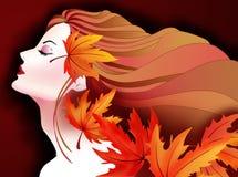Με χρωματίστε κορίτσι πορτοκαλής-φθινοπώρου Στοκ Εικόνες