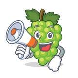 Με megaphone τα πράσινα κινούμενα σχέδια χαρακτήρα σταφυλιών απεικόνιση αποθεμάτων