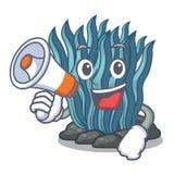 Με megaphone το μπλε φύκι στη μασκότ μορφής απεικόνιση αποθεμάτων