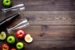 Μηλίτης της Apple Χαμηλός-οινοπνευματώδης beveradge στο σκοτεινό μπουκάλι κοντά στα γυαλιά μπύρας και τα φρέσκα μήλα στη σκοτεινή Στοκ Φωτογραφία