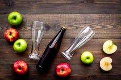 Μηλίτης της Apple Χαμηλός-οινοπνευματώδης beveradge στο σκοτεινό μπουκάλι κοντά στα γυαλιά μπύρας και τα φρέσκα μήλα στη σκοτεινή Στοκ εικόνα με δικαίωμα ελεύθερης χρήσης