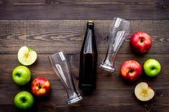 Μηλίτης της Apple Χαμηλός-οινοπνευματώδης beveradge στο σκοτεινό μπουκάλι κοντά στα γυαλιά μπύρας και τα φρέσκα μήλα στη σκοτεινή Στοκ φωτογραφία με δικαίωμα ελεύθερης χρήσης