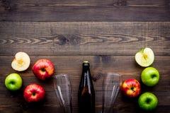 Μηλίτης της Apple Χαμηλός-οινοπνευματώδης beveradge στο σκοτεινό μπουκάλι κοντά στα γυαλιά μπύρας και τα φρέσκα μήλα στη σκοτεινή Στοκ Φωτογραφίες