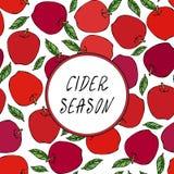 Μηλίτη άνευ ραφής ατελείωτο σχέδιο της Apple εποχής κόκκινο Κόκκινος καρπός μήλων Το σπίτι παρασκευάζει Φυτική συλλογή συγκομιδών Στοκ φωτογραφία με δικαίωμα ελεύθερης χρήσης