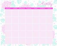 Μηνιαίος αρμόδιος για το σχεδιασμό Ημερολόγιο για το μήνα, στόχοι προγραμματισμού απεικόνιση αποθεμάτων