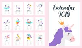 μηνιαίο ημερολόγιο έτους του 2019 στοκ εικόνα με δικαίωμα ελεύθερης χρήσης