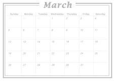 Μηνιαίο ημερολογιακό το Μάρτιο του 2017 Στοκ Εικόνα