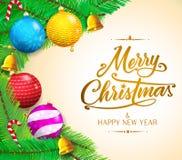 Μηνύματα Χριστουγέννων και ζωηρόχρωμα αντικείμενα στη διανυσματική απεικόνιση υποβάθρου κλίσης διανυσματική απεικόνιση