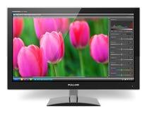 Μηνύτορας TFT LCD με να επιμεληθεί φωτογραφιών το λογισμικό Στοκ Εικόνες