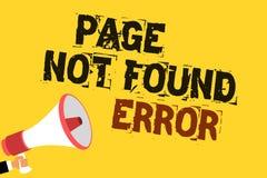 Μην βριαλμένη σελίδων γραψίματος κειμένων γραφής λάθος Η έννοια που σημαίνει το μήνυμα εμφανίζεται πότε η αναζήτηση του ιστοχώρου Στοκ Φωτογραφίες