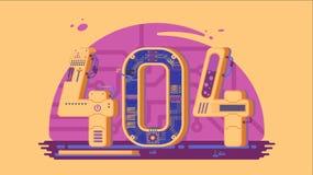 Μην βριαλμένη σελίδων λάθος 404 διανυσματική έννοια με τα ρομπότ και τα μηχανήματα Στοκ εικόνα με δικαίωμα ελεύθερης χρήσης