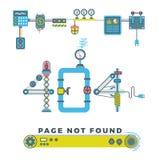 Μην βριαλμένη σελίδων λάθος 404 διανυσματική έννοια με τα ρομπότ και τα μηχανήματα απεικόνιση αποθεμάτων