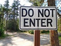 Μην εισάγετε το σημάδι σε ένα Campground Στοκ Εικόνα