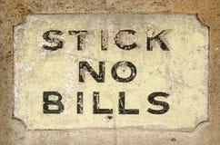 Μην κολλήστε κανένα σημάδι Bill Στοκ Εικόνες