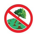 Μην κόψτε το σημάδι δέντρων διανυσματική απεικόνιση
