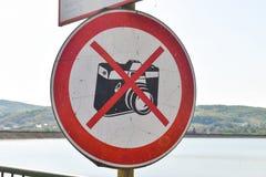 Μην πάρτε το σημάδι φωτογραφιών στοκ εικόνες