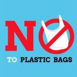 Μην πέστε κανένα γραφικό υπόβαθρο πλαστικών τσαντών, ετικέτα ή διάνυσμα εμβλημάτων Στοκ φωτογραφία με δικαίωμα ελεύθερης χρήσης