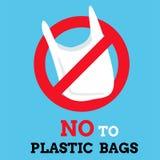 Μην πέστε κανένα γραφικό υπόβαθρο πλαστικών τσαντών, ετικέτα ή διάνυσμα εμβλημάτων Στοκ Φωτογραφία
