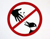 Μην ταΐστε το σημάδι παπιών Στοκ εικόνα με δικαίωμα ελεύθερης χρήσης