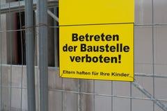 Μην υπογράψτε καμία καταπάτηση το εργοτάξιο οικοδομής Στοκ Εικόνες
