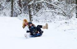 Μητέρα και γιος που απολαμβάνουν έναν γύρο ελκήθρων μια χειμερινή ημέρα Στοκ φωτογραφίες με δικαίωμα ελεύθερης χρήσης