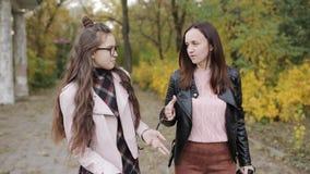 Μητέρα και κόρη ένας έφηβος που περπατά στις αλέες φθινοπώρου από κοινού απόθεμα βίντεο