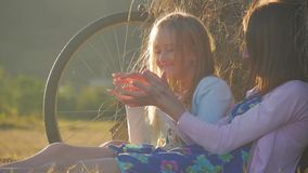 Μητέρα και κόρη σε έναν τομέα με το σωρό σανού σε μια ηλιόλουστη ημέρα Οικογένεια mom με την εύθυμη κόρη ήρθαν με το ποδήλατο μέσ απόθεμα βίντεο