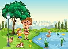 Μητέρα και παιδιά στο πάρκο διανυσματική απεικόνιση
