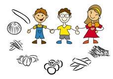Μητέρα και παιδιά Doodle με τα υγιή τρόφιμα Στοκ Φωτογραφία