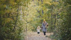 Μητέρα και το μικρό κορίτσι κορών της που περπατούν σε ένα πάρκο φθινοπώρου Στοκ Εικόνα