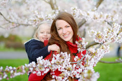 Μητέρα και το παιδί της στον ανθίζοντας κήπο κερασιών στοκ εικόνα με δικαίωμα ελεύθερης χρήσης