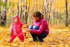 Μητέρα και χαριτωμένος λίγο παιχνίδι κορών το φθινόπωρο φθινοπώρου Στοκ φωτογραφίες με δικαίωμα ελεύθερης χρήσης