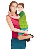 Μητέρα με ένα διάνυσμα παιδιών Στοκ Εικόνες