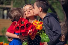 Μητέρα με δύο γιους στον κόκκινο τομέα τουλιπών Στοκ εικόνα με δικαίωμα ελεύθερης χρήσης