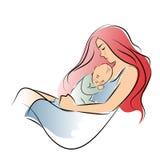 Μητέρα με μακρυμάλλη αγκαλιάζοντας το γιο της στο θωρακικό σκίτσο της συρμένο στο γραμμή χέρι κόλπων απεικόνιση αποθεμάτων