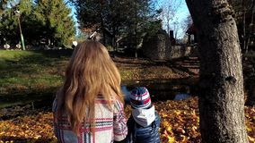 Μητέρα με τις πάπιες τροφών παιδιών με το ψωμί στο νερό ποταμού το φθινόπωρο φιλμ μικρού μήκους