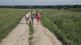 Μητέρα με τον περίπατο κορών στον αγροτικό δρόμο στον τομέα φιλμ μικρού μήκους