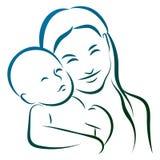 Μητέρα με το λογότυπο τέχνης γραμμών μωρών διανυσματική απεικόνιση