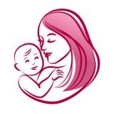 Μητέρα με το μωρό της, διανυσματική σκιαγραφία περιλήψεων Στοκ φωτογραφία με δικαίωμα ελεύθερης χρήσης