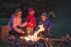 Μητέρα με marshmallow ψητού παιδιών της Στοκ Φωτογραφίες