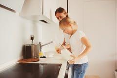 Μητέρα που έχει το πρόγευμα με την κόρη παιδιών στο σπίτι στη σύγχρονη άσπρη κουζίνα Στοκ Φωτογραφία